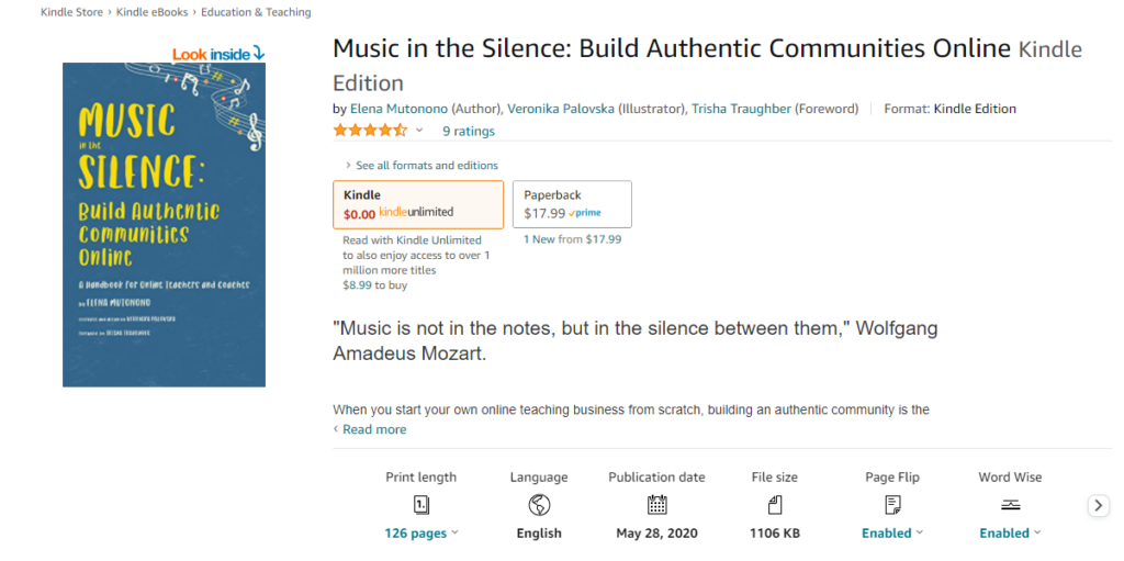 music in the silence book image ad